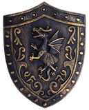 Middle age metallic shield with dragon Stock Image