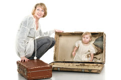 Middle age mother playing with little child Stock Photography