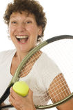 Middle age senior woman athlete tennis player Stock Photo