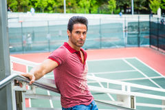 Middle Age Strong, Health American Man waiting for you at tennis Stock Images