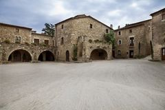 Middle Age village with great square stock photography