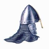 Middle age warrior helmet, on white background. Stock Image