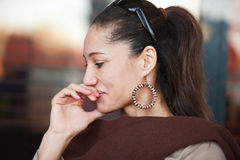 Middle age woman. Middle age mixed race woman remembering thinking at something Royalty Free Stock Photography