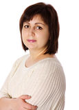 Middle age woman. Serious middle age woman isolated Stock Photo