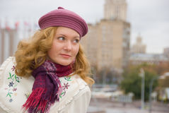 Middle age woman. Portrait in a city Stock Image