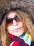 Middle Age Woman Close Up in Winter Stock Images