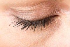 Middle age woman eye macro stock photo