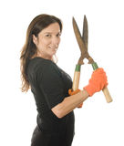 Middle age  woman gardener with hand shears cutter Royalty Free Stock Photography