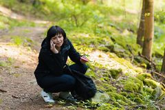 Middle age woman, on hiking trip Stock Images