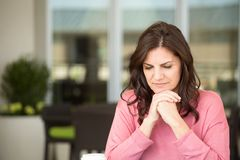 Depressed middle age woman. Royalty Free Stock Photography