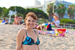 Middle age woman on Mediterranean coast of Spain Stock Image