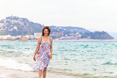 Middle age woman on Mediterranean coast of Spain Royalty Free Stock Photo