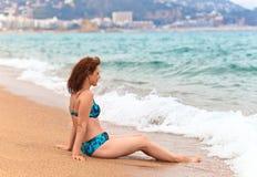 Middle age woman on Mediterranean coast of Spain Stock Photos