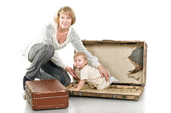 Middle age woman playing with little child Stock Photo