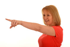 Middle age woman pointing Royalty Free Stock Photo