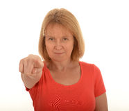 Middle age woman pointing Royalty Free Stock Photos
