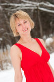 Middle age woman portrait. In a winter nature Stock Photography