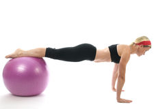 Middle age woman push up bars Stock Image