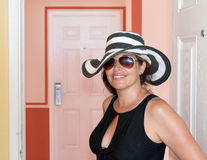 Middle age woman on vacation Royalty Free Stock Photography