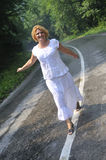 Middle age woman walk Royalty Free Stock Photo