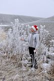Middle age woman in winter landscape. royalty free stock images