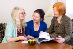 Middle Age Women Friends Talking at Living Area Stock Photos