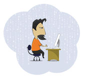 Middle age work addict geek sitting at the computer desk. Cartoon middle age work addict geek sitting at the computer desk. Cartoon style vector illustration on Royalty Free Stock Photos