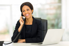 Middle aged african businesswoman phone Royalty Free Stock Image