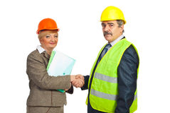Middle aged architects hand shake Royalty Free Stock Photography