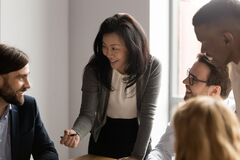 Free Middle Aged Asian Businesswoman Talking To Diverse Colleagues At Meeting Royalty Free Stock Photos - 171938238