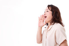 Middle aged asian woman shouting Stock Images