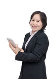 Middle aged asian woman smiles. Over white background Stock Photography