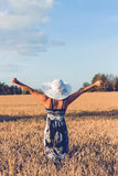 Middle aged beauty woman in wheat field Royalty Free Stock Image