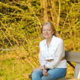 Middle-aged blonde woman. Portrait of a beautiful middle-aged blonde woman Royalty Free Stock Photography