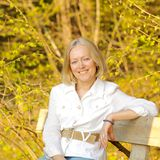 Middle-aged blonde woman. Portrait of a beautiful middle-aged blonde woman Stock Photography