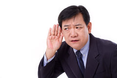 Middle aged business executive manager listening to bad news Stock Photography