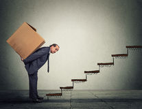 Middle aged business man carrying large heavy box on his back upstairs Stock Image