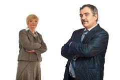 Middle aged business man and his colleague Royalty Free Stock Images