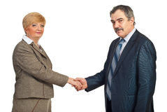 Middle aged business people handshake Stock Image