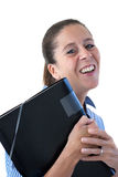 Middle Aged Business Woman Laughing with File Stock Photography