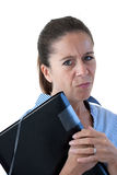 Middle Aged Business Woman Looking Angry with File Royalty Free Stock Images