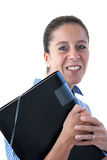 Middle Aged Business Woman Smiling Holding a File Stock Photos