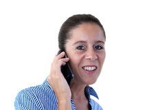Middle Aged Business Woman Smiling on the Phone Royalty Free Stock Photos