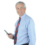 Middle aged Businessman With Cell Phone Stock Photos
