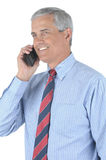 Middle aged Businessman With Cell Phone Royalty Free Stock Photos