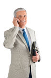 Middle Aged Businessman with Cell Phone Royalty Free Stock Photo