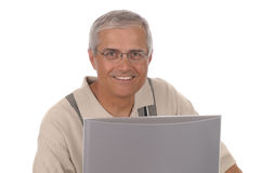 Middle aged Businessman Computer Monitor Royalty Free Stock Photo