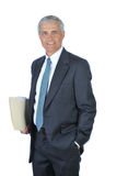 Middle Aged Businessman with File Folders Stock Photography