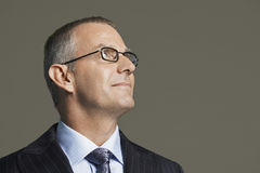 Middle Aged Businessman In Glasses Smiling Royalty Free Stock Photo