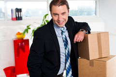 Middle aged businessman at his relocated office royalty free stock photography